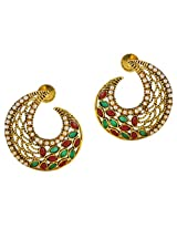 Touchstone Gold Plated with white pearls and multi meenakari Earring for Women- DGET-390-01PREG