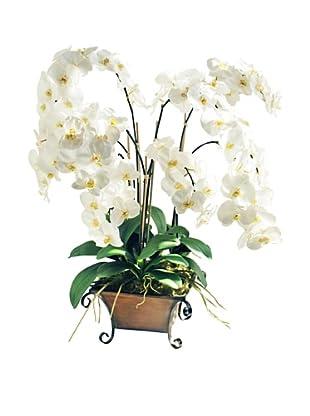 Winward Medium White Faux Orchid in Planter, White