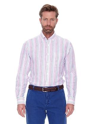 Cortefiel Camisa Multirraya Lino (Rosa)