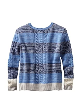 THAKOON Women's Striped Cable Button Back Knit Top (Blue)