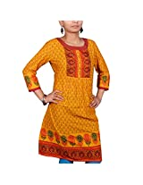 VGF 3/4 Sleeve Border Printed Cotton Kurti For Women-X-Large