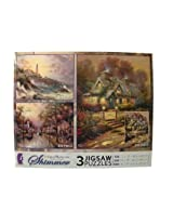 Thomas Kinkade Shimmer 3 Pack Jigsaw Puzzles: 100 - 300 - 500 Pieces - Clearing Storm - Hometown Morning - Teacup Cottage