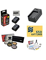 2 Extended Life Replacement Battery Packs For the Canon LP-E10 LPE10 2000MAH Each 4000MAH in Total For The for Canon EOS Rebel T3 DSLR 2 Batteries In Total + 1 hour AC/DC Rapid Battery Charger For The for Canon EOS Rebel T3 + 58MM Professional 5 Piece Filter Kit (UV CPL FL ND4 and 10x Macro Lens) + Deluxe Lens Cleaning Kit + LCD Screen Protectors + Mini Tripod + 47stphoto Microfiber Cloth + $50