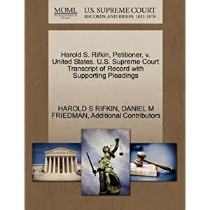 Harold S. Rifkin, Petitioner, v. United States. U.S. Supreme Court Transcript of Record with Supporting Pleadings