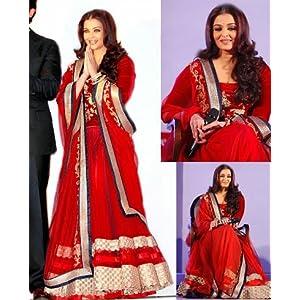 Aishwarya Rai Bachchan Red Net Lehenga Choli - BWSL120
