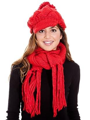 LAVAND Bufanda Y Gorro Parisienne (Rojo)
