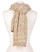 Noble Mount Mens Two-Tone Cable Knit Chillbuster Winter Scarf - Beige/Tan