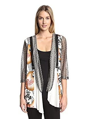 Lily by Firmiana Women's Paisley Knit Open Cardigan