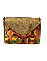 printed quilted satchel with glitter flap