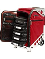 Zuca Pro Road Warrior Luggage Pro Artist Collection: Ruby Red Sport Insert Bag On Silver Frame, With Matching Travel Cover, Standard Packing Pouch Set + Tsa-Compliant Toiletry Bag