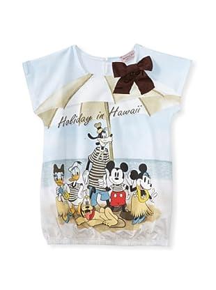 Monnalisa Girl's Mickey Holiday Hawaii Tee (White)