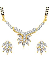 Meenaz Mangalsutra For Women Jewellery Set With Earring Gold Plated Cz In American Diamond MSPT190