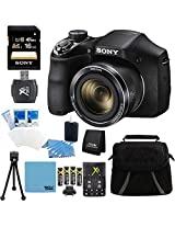 Sony DSC-H300 DSCH300 H300 H300/B Digital Camera (Black) Bundle with 16GB SD Card, Rapid Multivoltage AC/DC Charger, 3100 Mah Rechargeable Batteries (Qty 4), Card Reader, Mini Tripod, Case + More