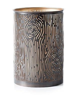 Torre & Tagus Bark Cutout Metal Lantern, Chrome