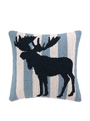 Peking Handicraft Black & White Moose Stripe Hook Pillow