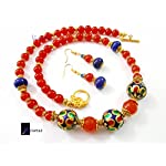 orange fancy and meenakari combination necklace set