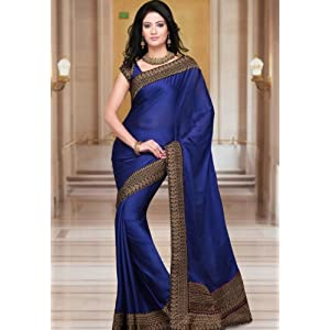 Royal Blue Faux Satin Chiffon Saree With Blouse