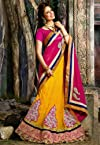 Pink Faux Georgette and Net Lehenga Style Saree with Blouse
