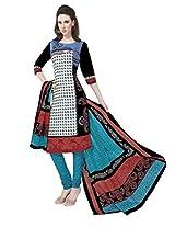 Salwar Studio Multicolor & Blue Cotton Dress Material With Dupatta RangResham-1822