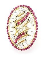 Stylish Stone and Simulated Kundan Stud Saree Pin Brooch, Rani & White Stone, Gold Tone