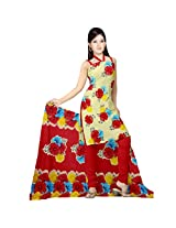 Sonal Trendz Beige & Red color Leon Printed Art silk Dress Material.