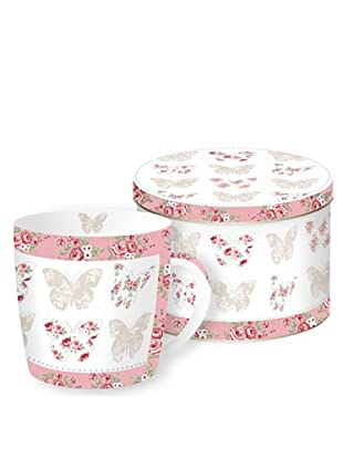 Easy Life Design Tazza in Porcellana con Scatola Di Latta Butterfly 350 ml