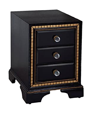 Bassett Mirror Company Villa Granada Chairside Chest, Black/Gold/Crystal