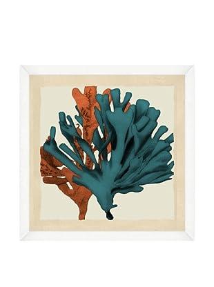 Orange & Teal Seaweed Crop Framed Print II