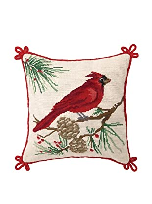 Sally Eckman Roberts Snowbirds Needlepoint Pillow Cardinal, Red, 12