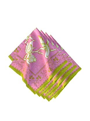 Couleur Nature Set of 4 Sparrow Napkins, Pink/Green