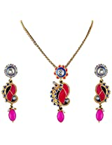 Vivanta Multi-Coloured Gold Plated Necklace And Earrings Set For Women (VD-N117)