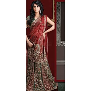 Lush Green Lehenga Style Simmer Georgette Saree with Blouse