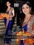 Shilpa Shetty Blue Chiffon Saree with Marron Designer Brocade