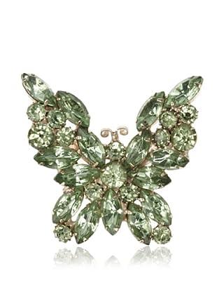 Lulu Frost 1920's Art Deco Green Butterfly Brooch