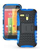 JKase DIABLO Series Tough Rugged Dual Layer Protection Case Cover with Build in Stand for Motorola Moto G - Blue