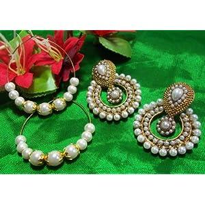 Buy 1 get 1 free white pearl polki earrings