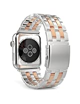 Apple Watch Band, MoKo Stainless Steel Metal Replacement Smart Watch Band Bracelet with Double Button Folding Clasp for 42mm Apple Watch All Models, SILVER & Rose GOLD (Not Fit 38mm Version 2015)