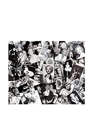 Contemporary Black & White Leinwandbild Marilyn Collages mehrfarbig
