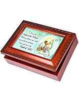 I am the Light and the Truth Cottage Garden Wood Grain Finish Jewelry Music Box - Plays Song Ave Mar