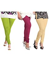 Lux Womens Combo Of Cotton Leggings (Set Of Three) - L 15-03-18