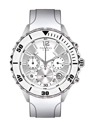 K&BROS 9174-2 / Reloj de Caballero  con correa de caucho Blanco