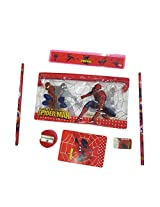 DCS Spiderman School Stationery Pouch Set with 2 Pencil + Sharpener + Eraser + Note-Pad + Ruler