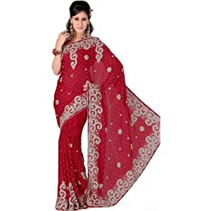 Red Satin Saree with Blouse