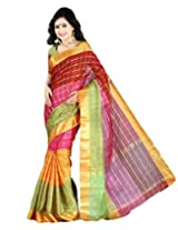 Paaneri Multi with Golden Check Blended Cotton Saree_15103502505