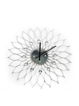 World Friendly World Sunflower Retro Nelson Wall Clock, Silver