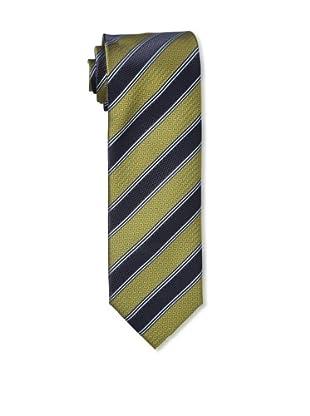 Massimo Bizzocchi Men's Herringbone Stripe Tie, Yellow Green/Navy