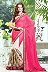 Georgette and Net Saree In Cream and pink Colour 13020