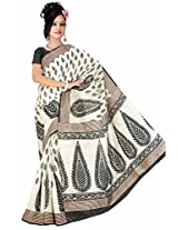 Somya Women's Bhagalpuri Silk Printed Black Saree