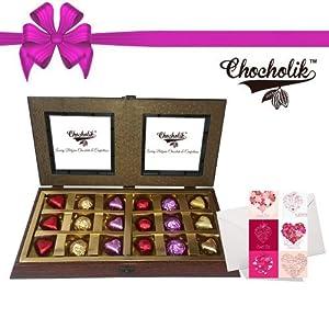 18pc Luxury Chocolate Wooden Box with Lovely Card - Chocholik Luxury Chocolates