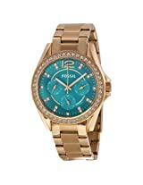 Fossil Riley Multi-Function Turquoise Dial Rose Gold-Tone Ladies Watch - Fses3385
